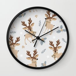 Christmas Reindeer Gray Wall Clock