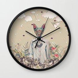 Floral cat Wall Clock