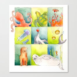 Animals Swimming Canvas Print