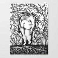 in the flesh Canvas Prints featuring Flesh by Rachel De Urioste
