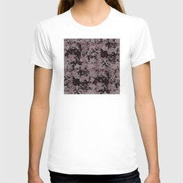 Silver Frost, Eggplant and Black Ice Abstract Pattern T-shirt