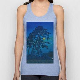 Vintage Japanese Woodblock Print Kawase Hasui Haunting Tree Silhouette At Night Moonlight Unisex Tank Top