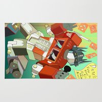 optimus prime Area & Throw Rugs featuring Optimus Prime DARE to keep your dreams alive! by Torao