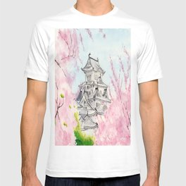 Himeji Castle , Art Watercolor Painting print by Suisai Genki , cherry blossom , Japanese Castle T-shirt