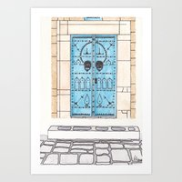 Blue Door with Black Decorations Art Print