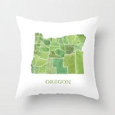 Oregon Counties watercolor map Throw Pillow