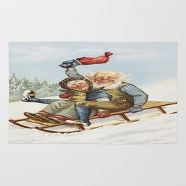 Vintage Christmas : Older Couple Wintry Fun 1890 Rug