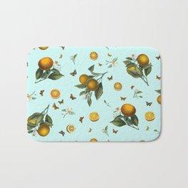 Oranges and Butterflies on Mint Bath Mat