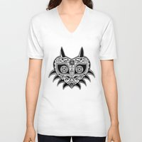majoras mask V-neck T-shirts featuring Sugarskull / Majoras mask / black'n'white by tshirtsz