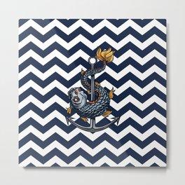 CHEVRON - Stay Anchored - Navy Blue Metal Print