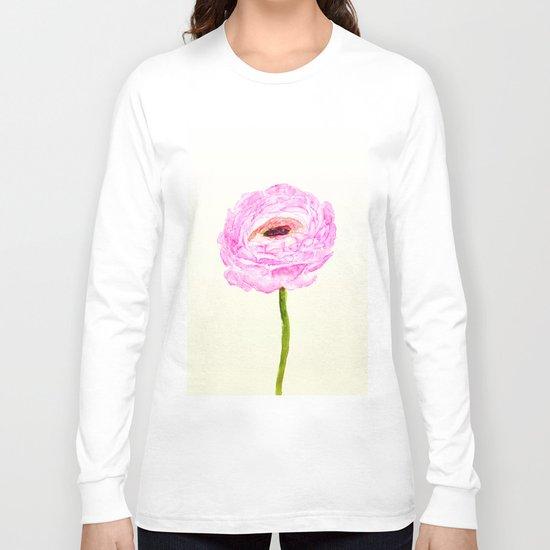 pink cultivited buttercup, Ranunculus Long Sleeve T-shirt
