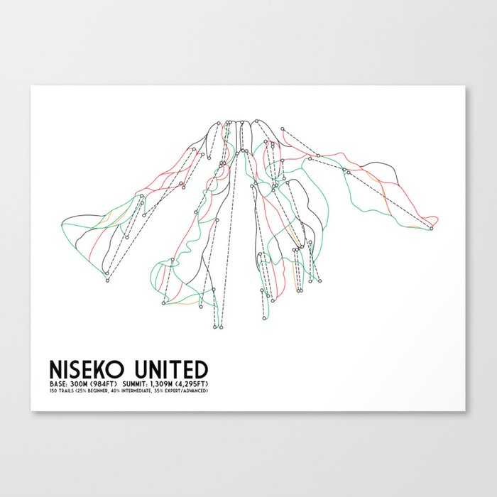 Niseko United, Japan - Japan Edition - Minimalist Trail Art Canvas Print