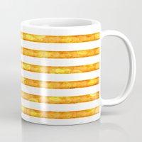 duvet cover Mugs featuring Golden Glitter Stripes Duvet Cover by Corbin Henry
