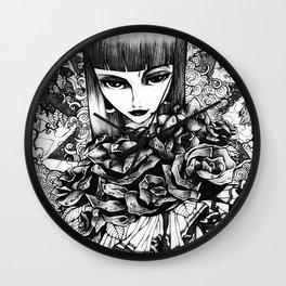 Gothic Girl Pencil Sketch Wall Clock