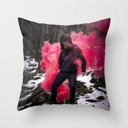 Black Ape in the woods Throw Pillow