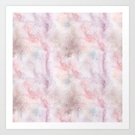 Mauve pink lilac white watercolor paint splatters Art Print