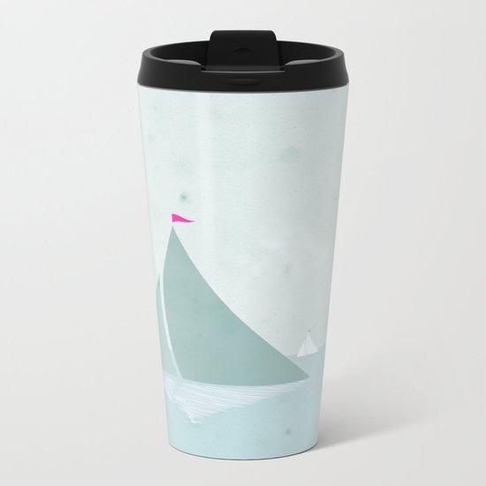 Peaceful seascape with sailboats Metal Travel Mug