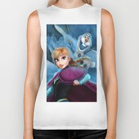 olaf Biker Tanks featuring Anna & Olaf  by This Is Niniel Illustrator