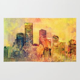 Abstract City Scape Digital Art Rug