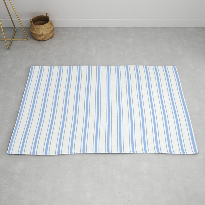 Mattress Ticking Wide Striped Pattern In Pale Blue And White Rug By Podartist