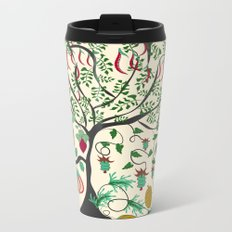 Fairy seamless pattern garden with plants, tree and flowers Metal Travel Mug