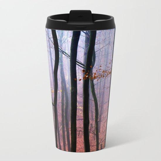 Foggy fall forest photography Metal Travel Mug