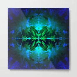 Blue columns in Abstract Metal Print