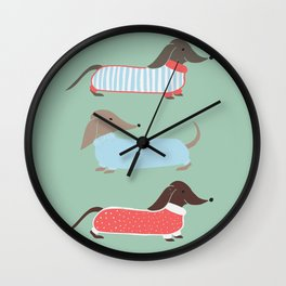Sausage Dogs in Jumpers Wall Clock