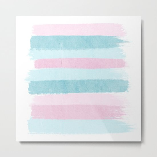 Painted pastel candyland stripes minimal art by charlotte winter Metal Print