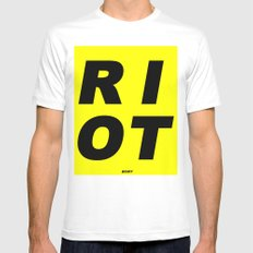 RIOT (BLACK AND YELLOW) Mens Fitted Tee White MEDIUM