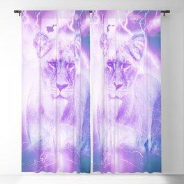 Lavender and Blue Lioness Big Cat Art Print Blackout Curtain
