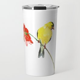 American Goldfinch and Red Flower, Minimalist Yellow Red Floral art Travel Mug