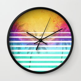 Vintage Retro 80's Synthwave Sunset Palms Wall Clock