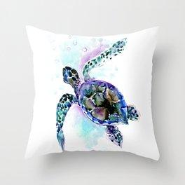 Sea Turtle Underwater Scene Artwork, turquoise blue, gray design beach Throw Pillow