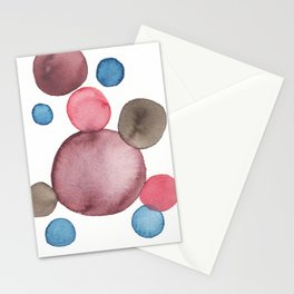 Color Sphere Circle Watercolor Stationery Cards