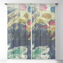 Ireland Cliff Cave Umbrellas Sheer Curtain