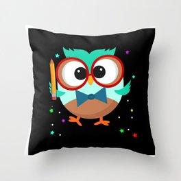 Eyeglass Owl With Pencil And Star Design Motif Throw Pillow
