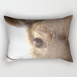 Watercolor Deer, Eastern Whitetail 14, Antietam, Maryland, Cold Stare Rectangular Pillow