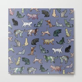 Cats shaped Marble - Violet Blue Metal Print