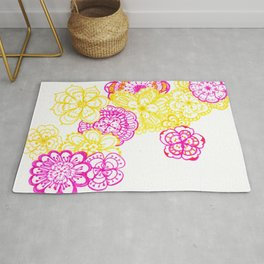 28. Colourful Pink and Yellow Flower in Henna World Rug