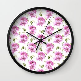Modern hand painted lilac pink watercolor floral daisies pattern Wall Clock