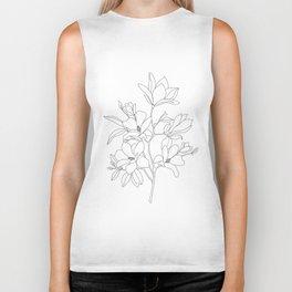 Minimal Line Art Magnolia Flowers Biker Tank