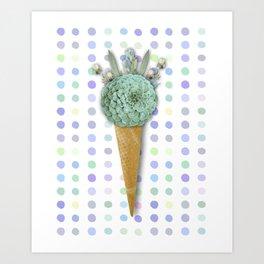 SUCCULENT CACTUS ICE CREAM Art Print
