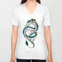 chihiro V-neck T-shirts featuring Haku and Chihiro by Mrs Storm
