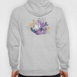 Amethyst Crystal Clusters / Violet, Blue and Gold Hoody