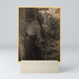 Doris Ulmann  (1882–1934), Farmer with Scythe  Profile of elderly man with mustache and suspenders, Mini Art Print