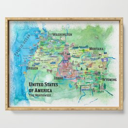 USA Northwest States Illustrated Travel Map Serving Tray