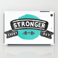 crossfit iPad Cases featuring Stronger Every Day (dumbbell) by Lionheart Art