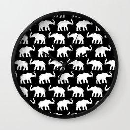 Elephants on Parade Black Wall Clock