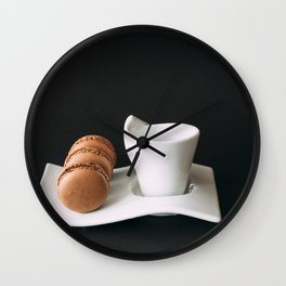 Set of cup of coffee and macaroons against black background Wall Clock
